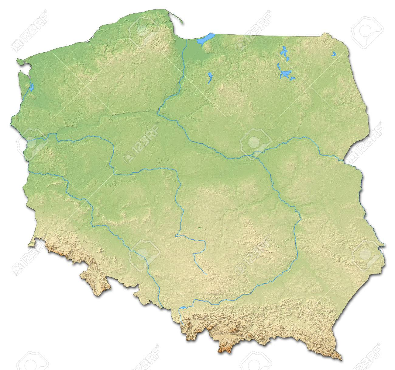 Relief map of Poland with shaded relief. - 60095626