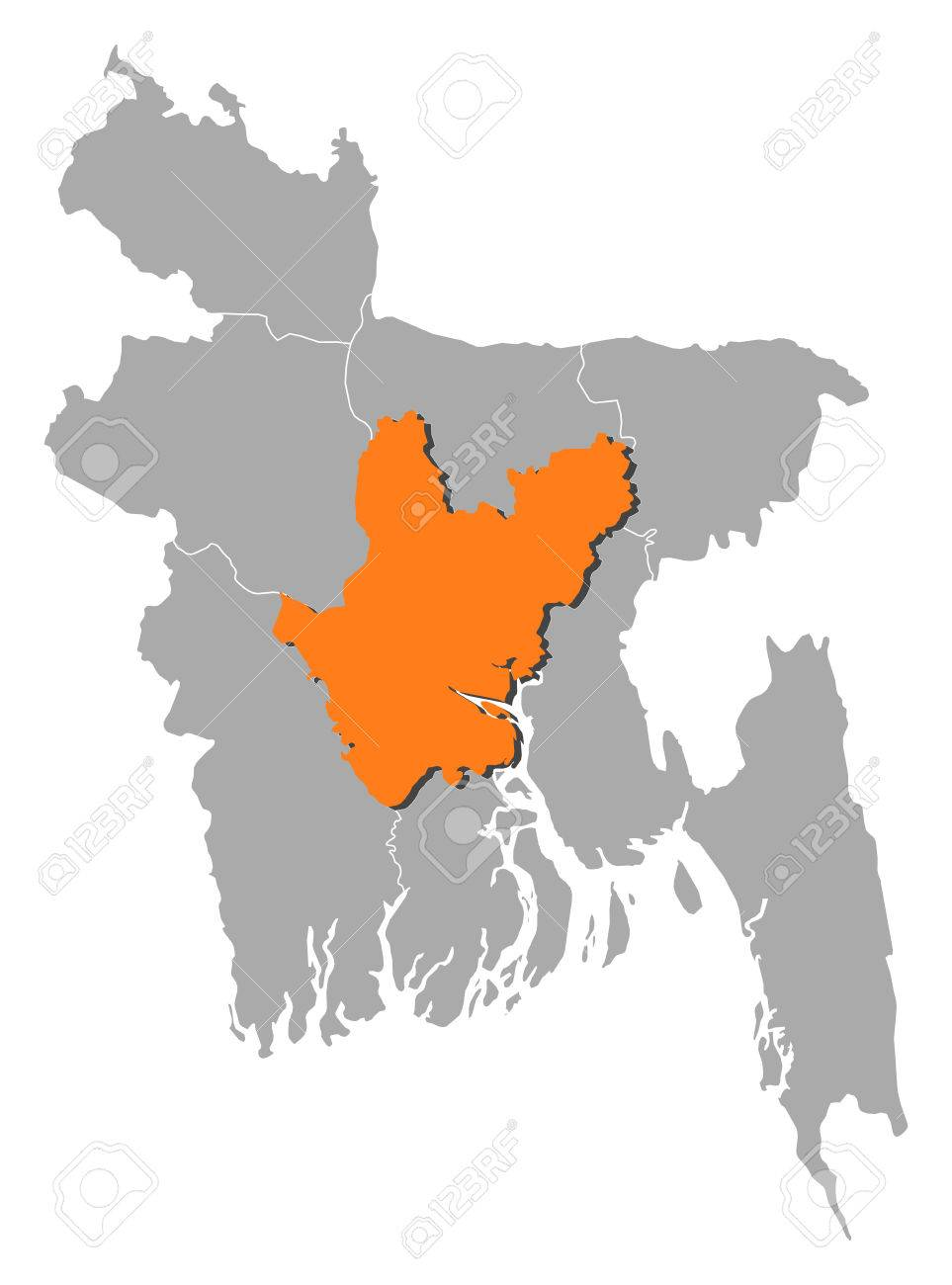 Map Of desh With The Provinces, Dhaka Is Highlighted By ... Dhaka World Map on
