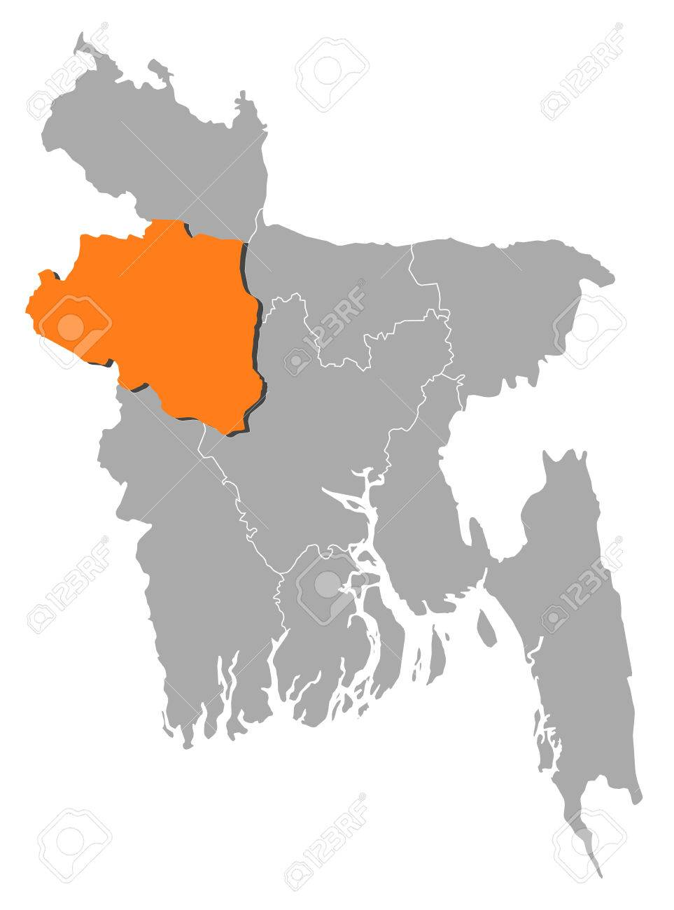 Map Of Bangladesh With The Provinces Rajshahi Is Highlighted