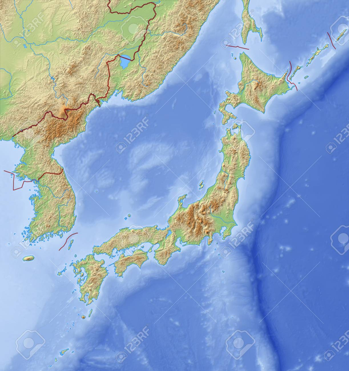 Relief Map Of Japan And Nearby Countries Stock Photo Picture And