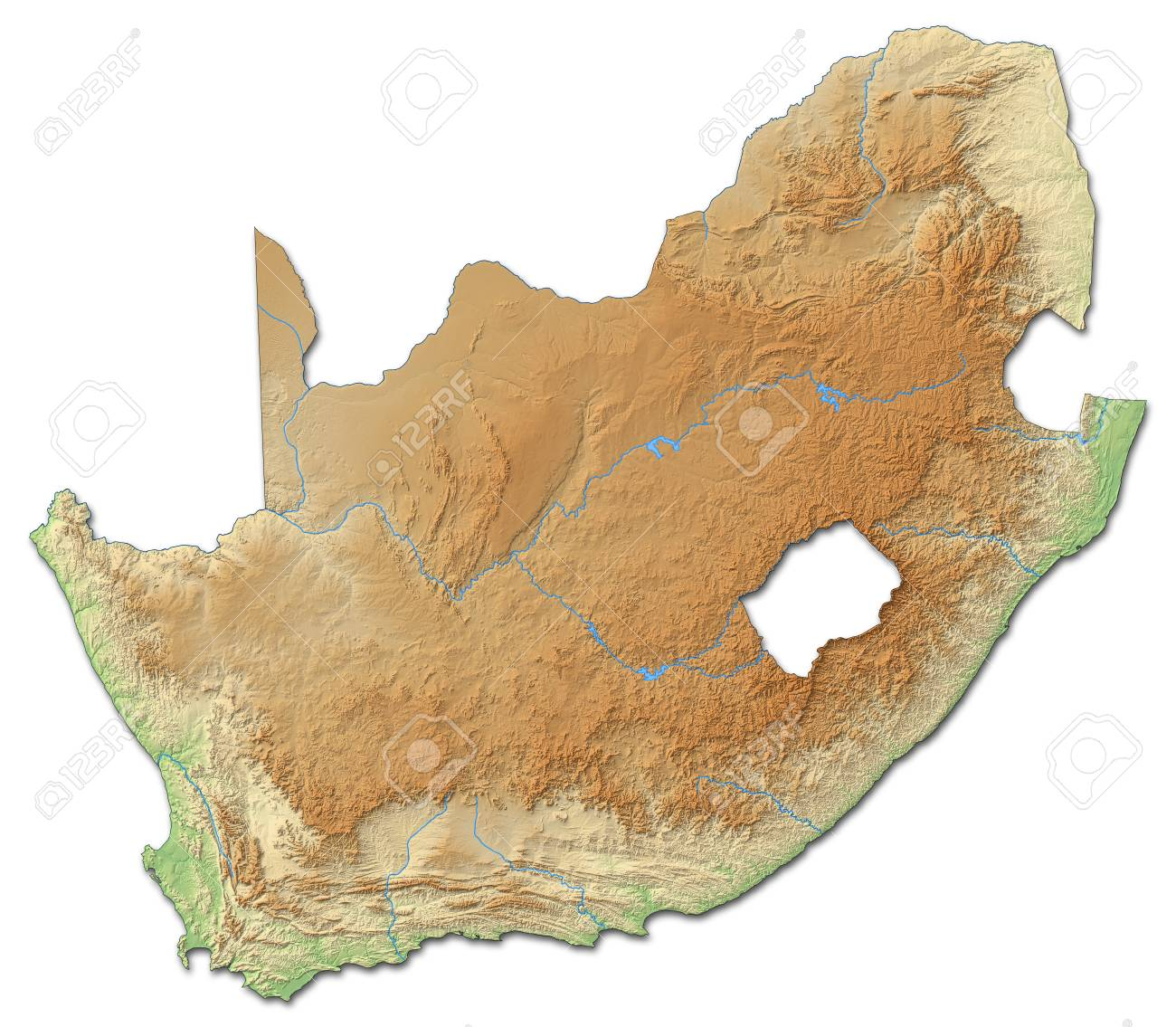 Relief Map Of Southern Africa.Relief Map Of South Africa With Shaded Relief