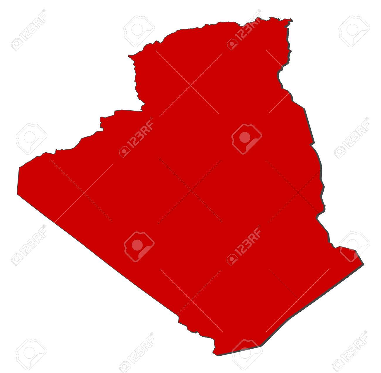 Carte Algeria Vector.Map Of Algeria With The Provinces Colored In Red