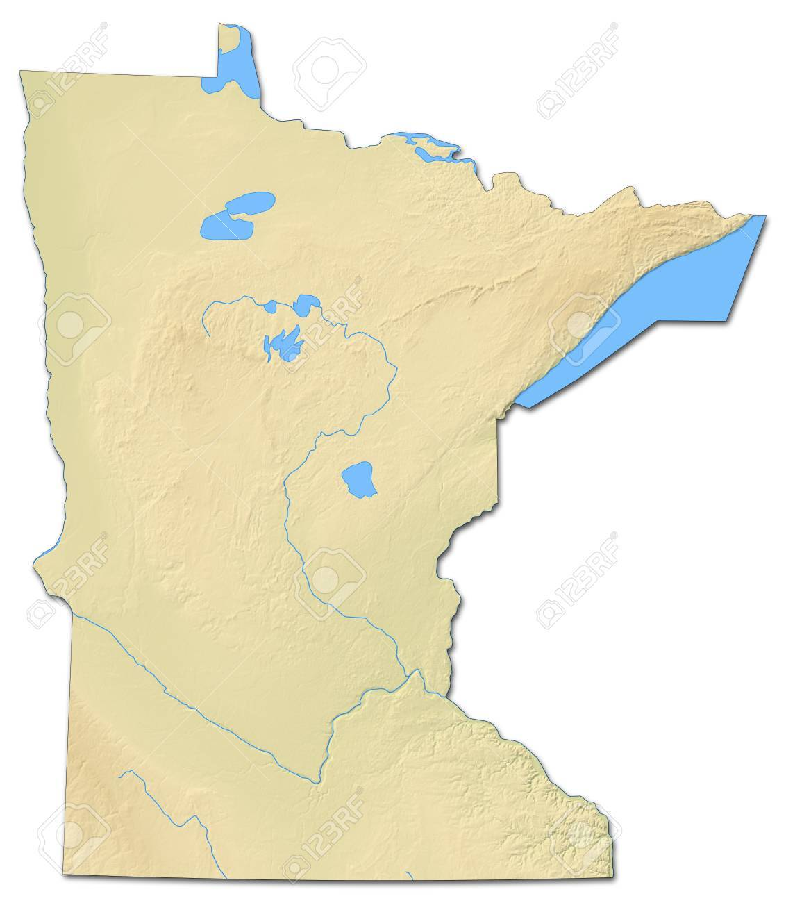 Relief Map Of Minnesota A Province Of United States With Shaded