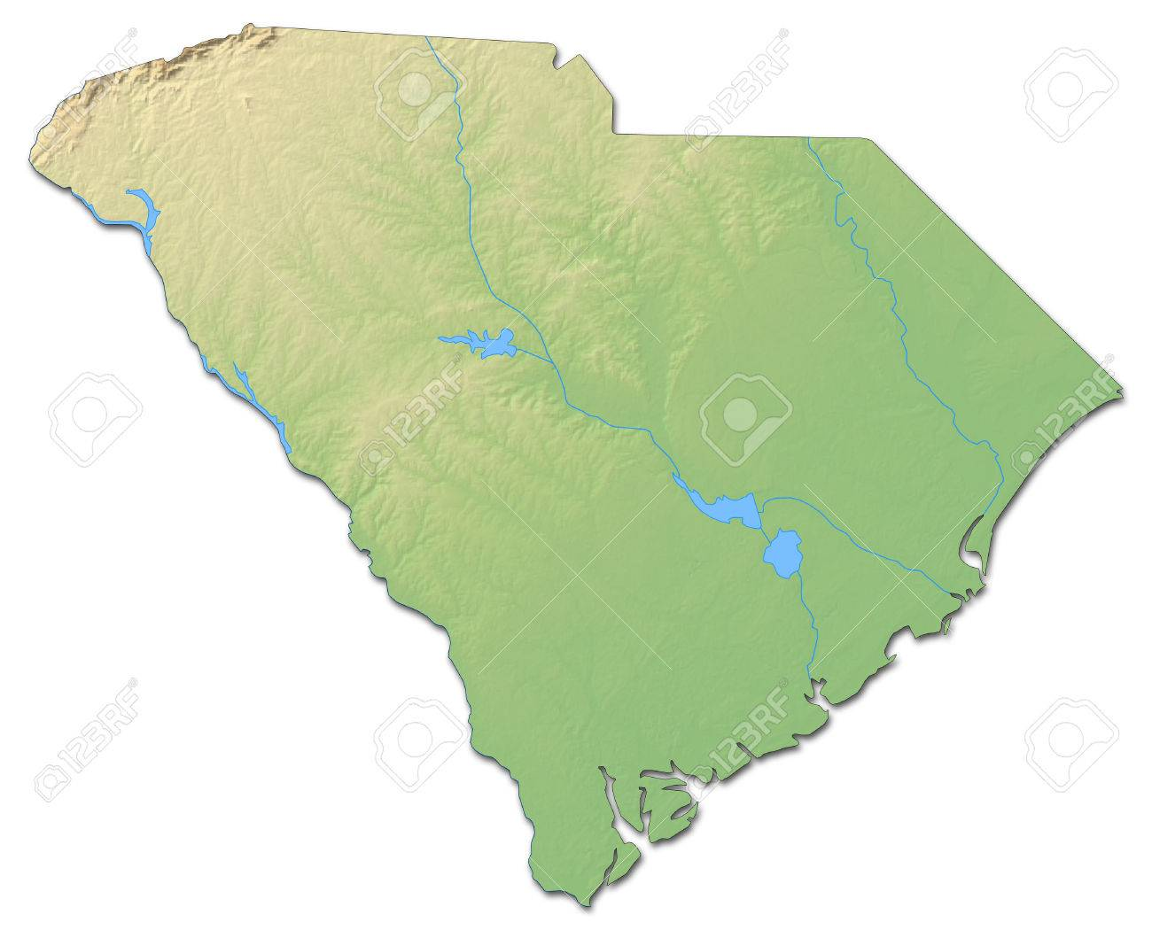 Relief Map Of United States.Relief Map Of South Carolina A Province Of United States With