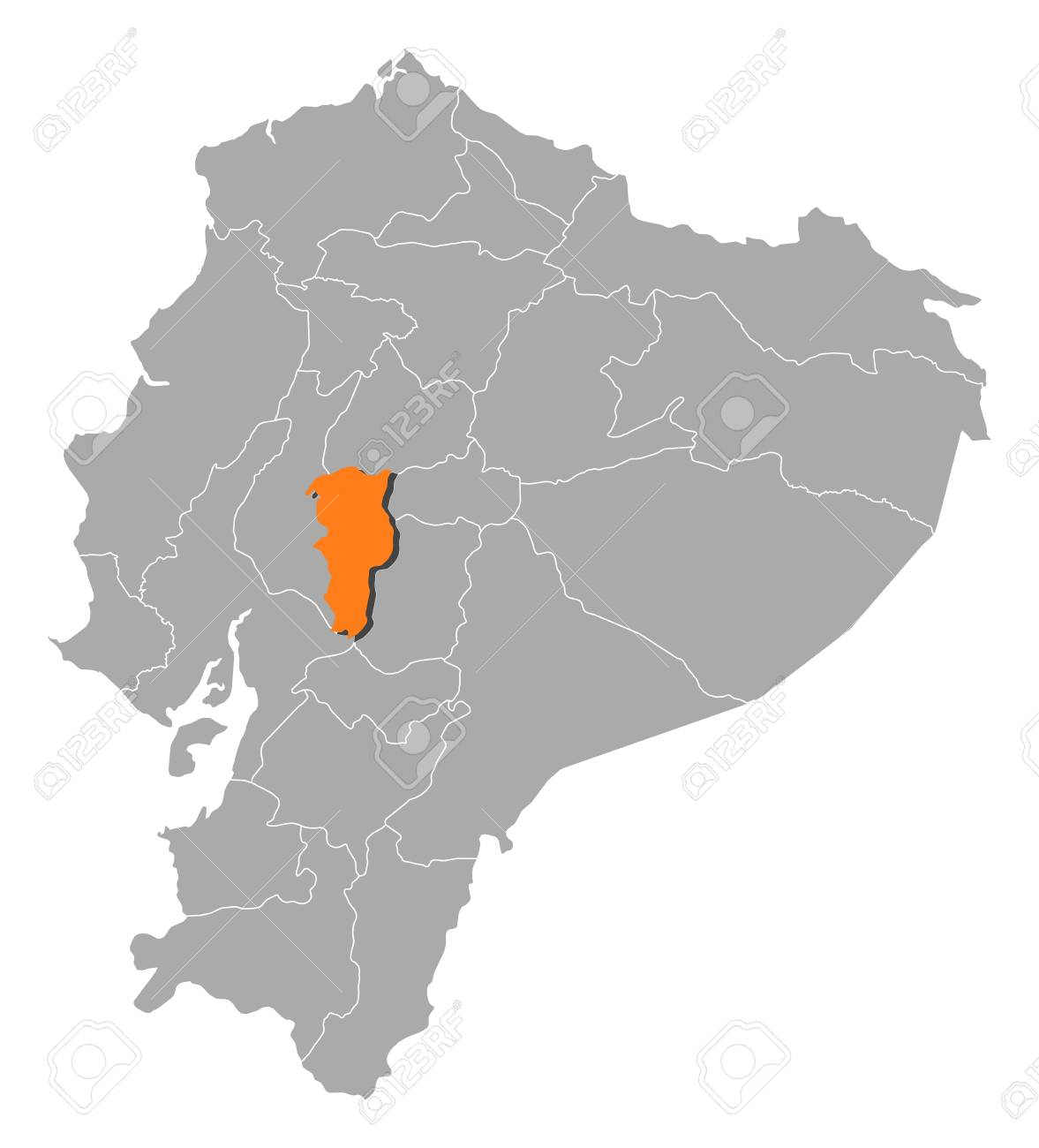 Map of ecuador with the provinces bolivar is highlighted by map of ecuador with the provinces bolivar is highlighted by orange stock vector gumiabroncs Image collections