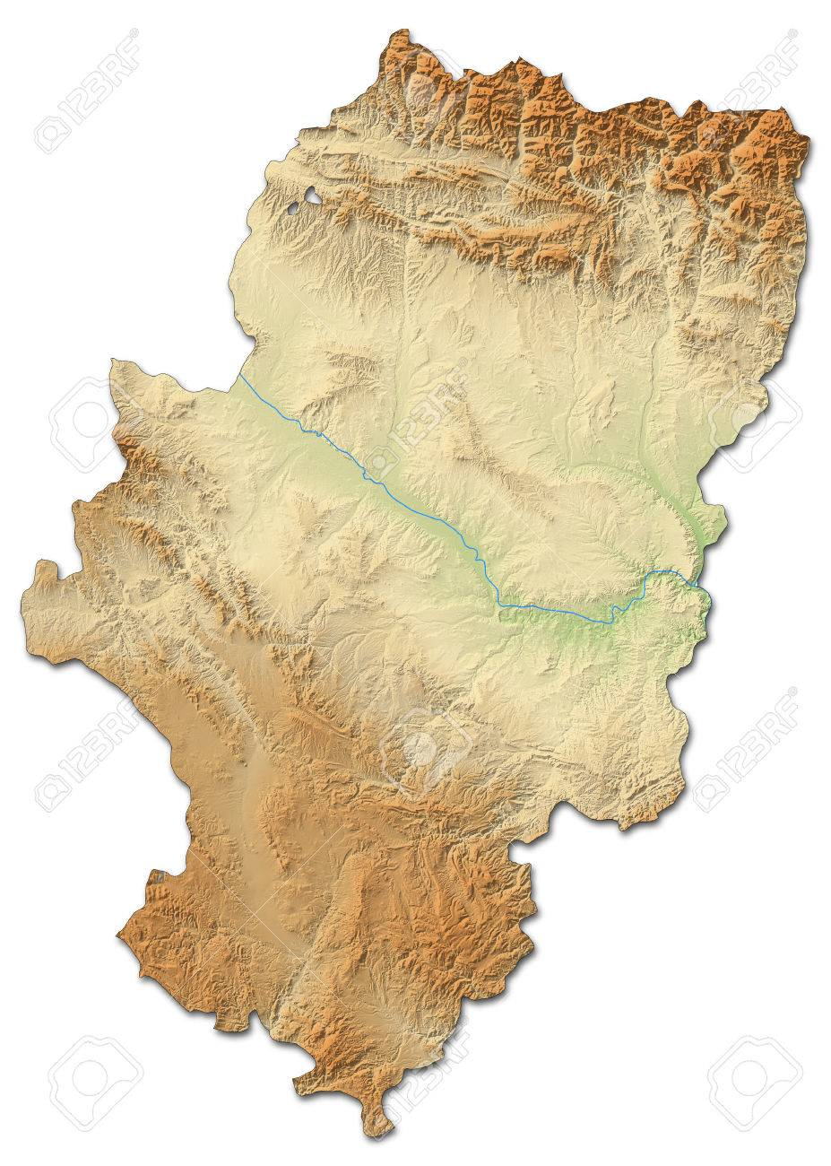 Relief Map Of Aragon A Province Of Spain With Shaded Relief Stock