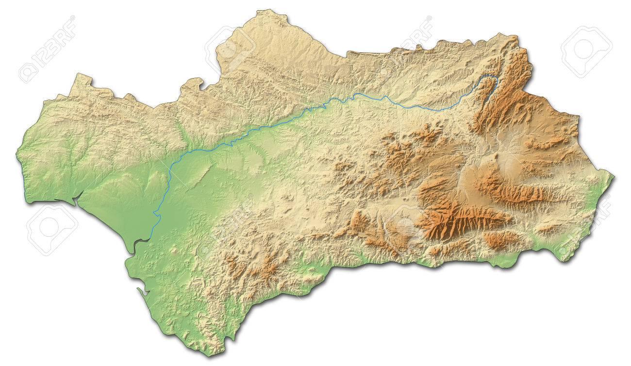 Carte Andalousie Relief.Carte Du Relief De L Andalousie Une Province De L Espagne Avec Relief Ombre