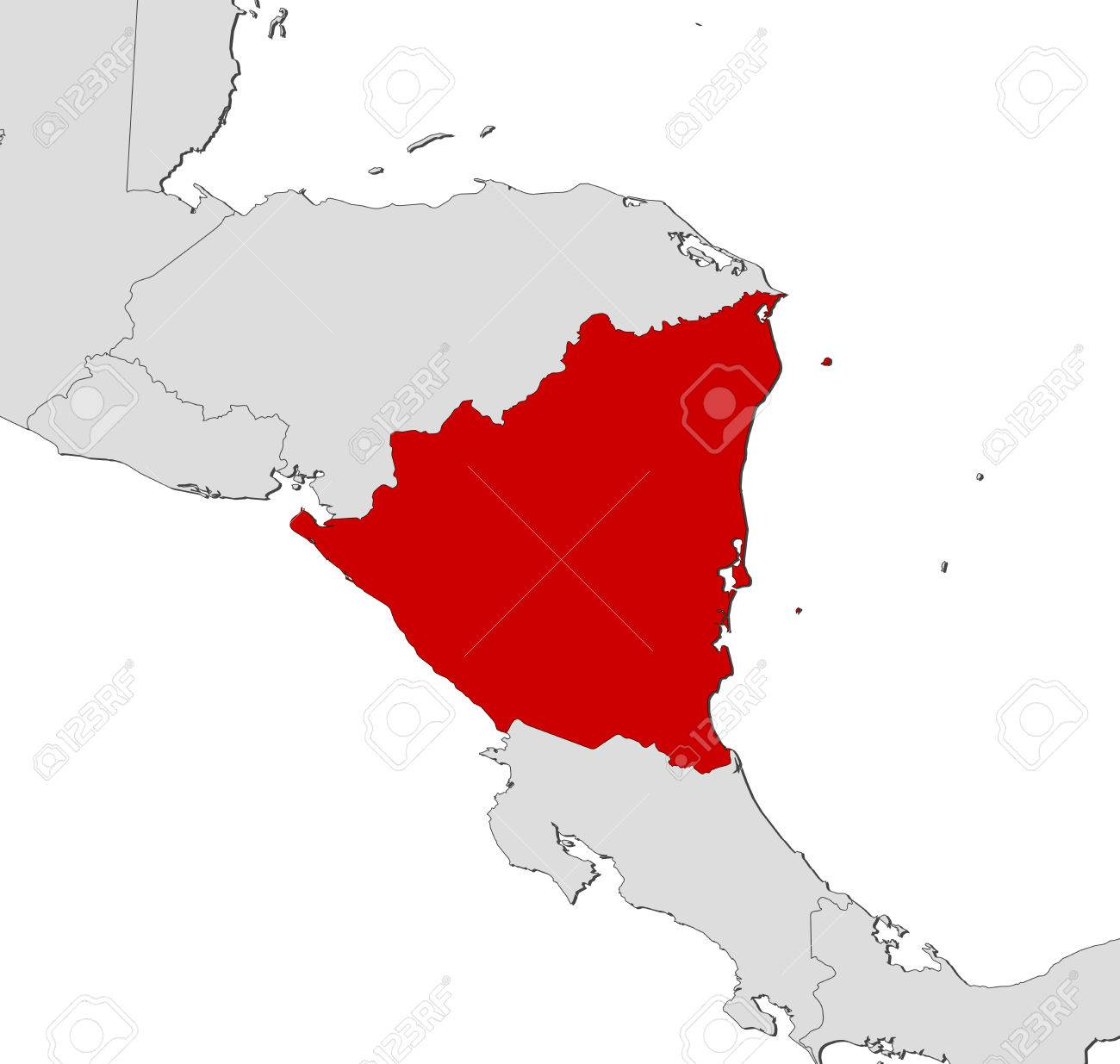 Map Of Nicaragua And Nearby Countries, Nicaragua Is Highlighted ...