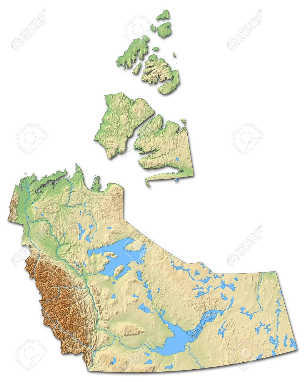Carte Canada Nord Ouest.Carte Des Territoires Du Nord Ouest Une Province Du Canada Relief Avec Relief Ombre