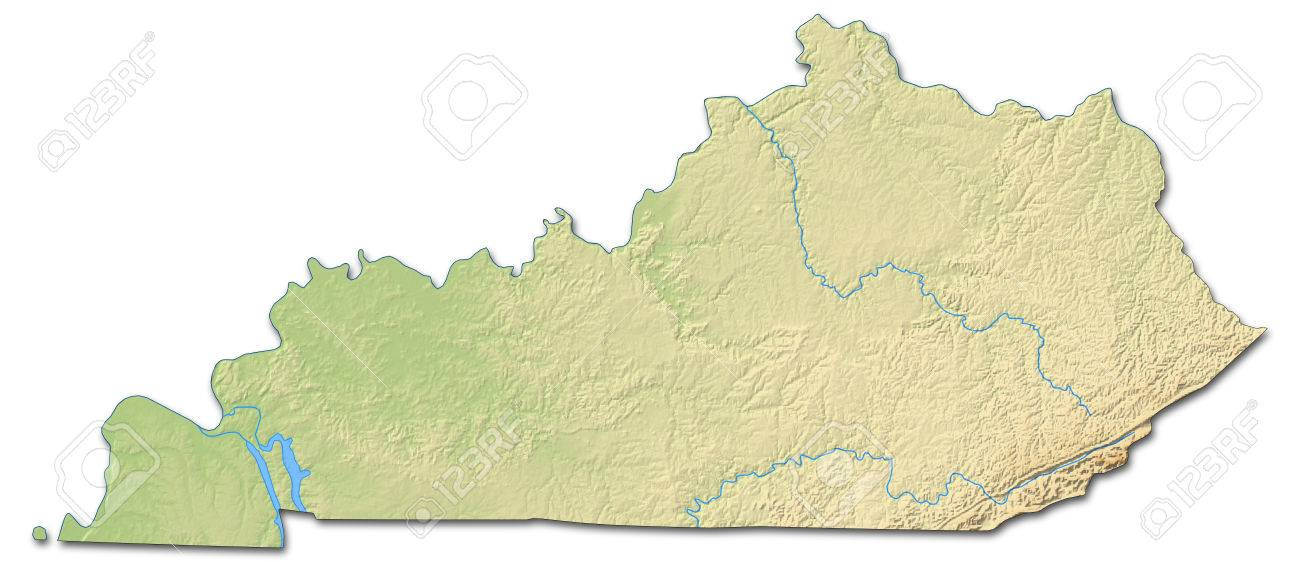 Relief Map Of Kentucky, A Province Of United States, With Shaded ...