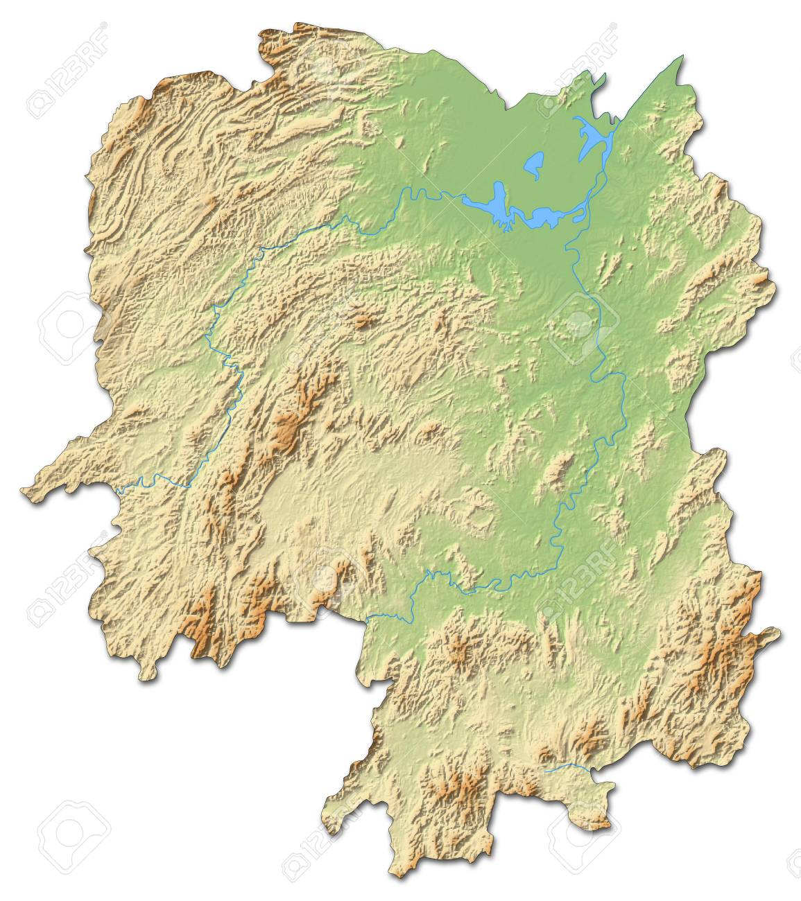 Hunan Province China Map.Relief Map Of Hunan A Province Of China With Shaded Relief Stock