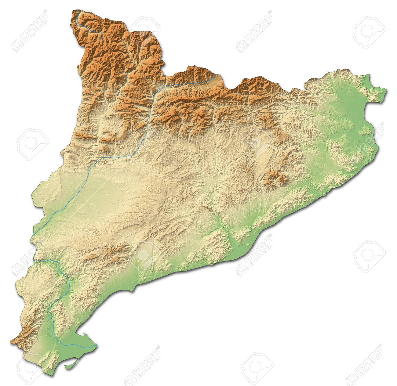 Relief Map Of Catalonia A Province Of Spain With Shaded Relief