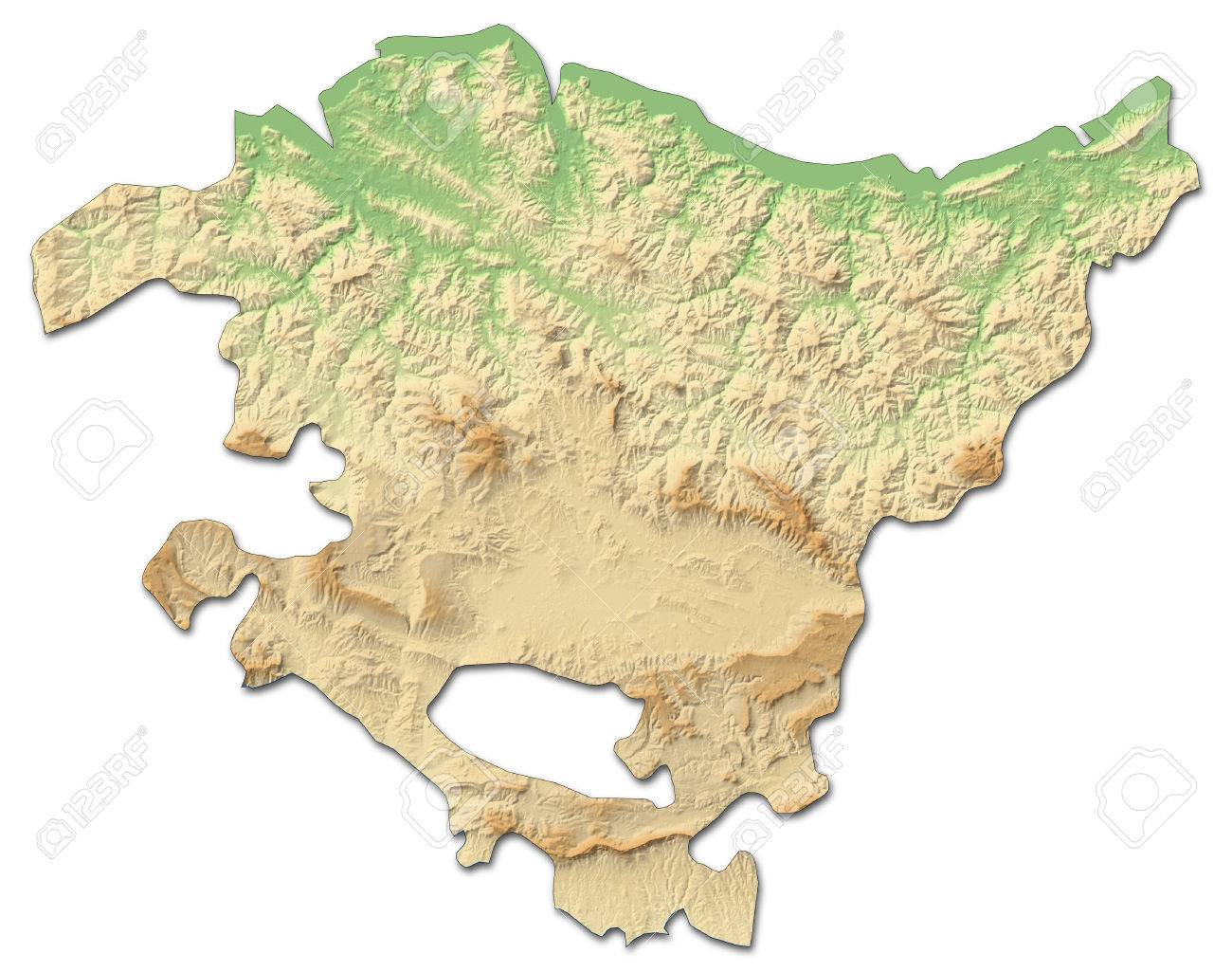 Relief Map Of Basque Country A Province Of Spain With Shaded