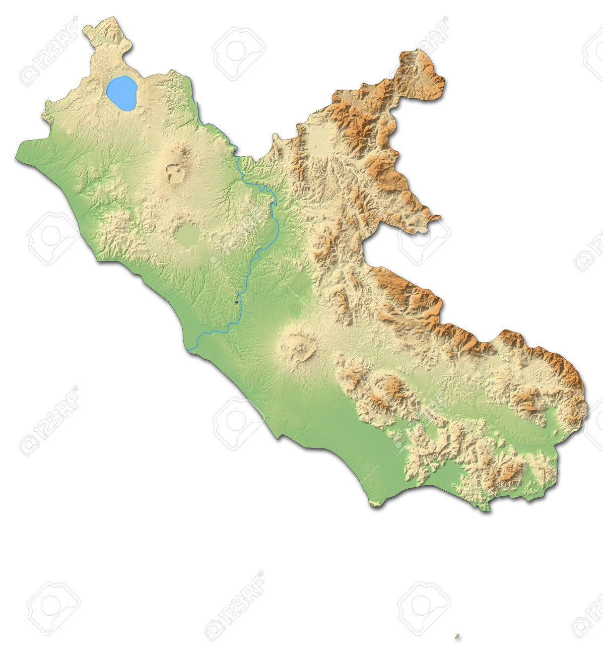 Relief Map Of Lazio A Province Of Italy With Shaded Relief Stock