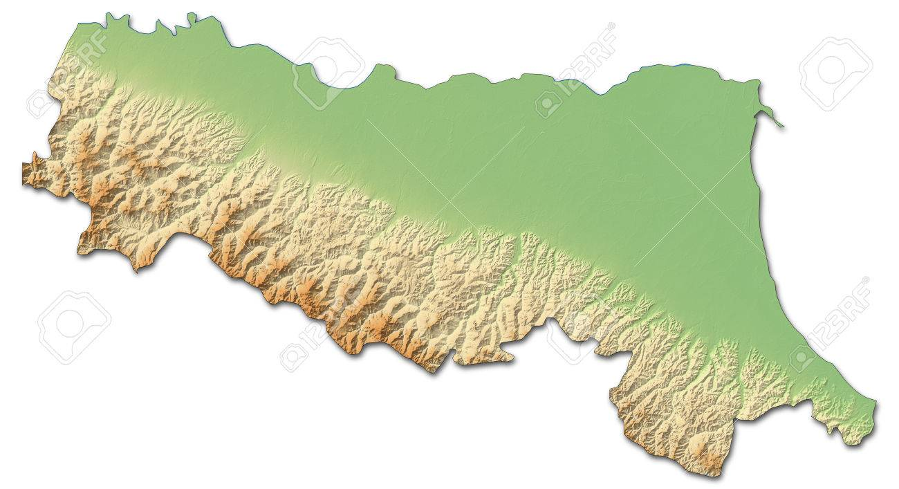 Relief Map Of EmiliaRomagna A Province Of Italy With Shaded