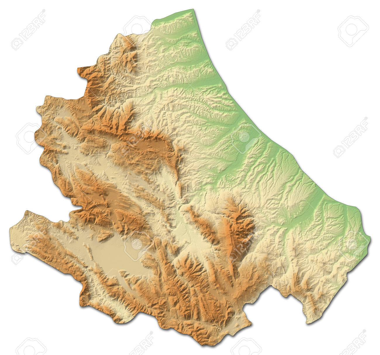 Relief Map Of Abruzzo A Province Of Italy With Shaded Relief