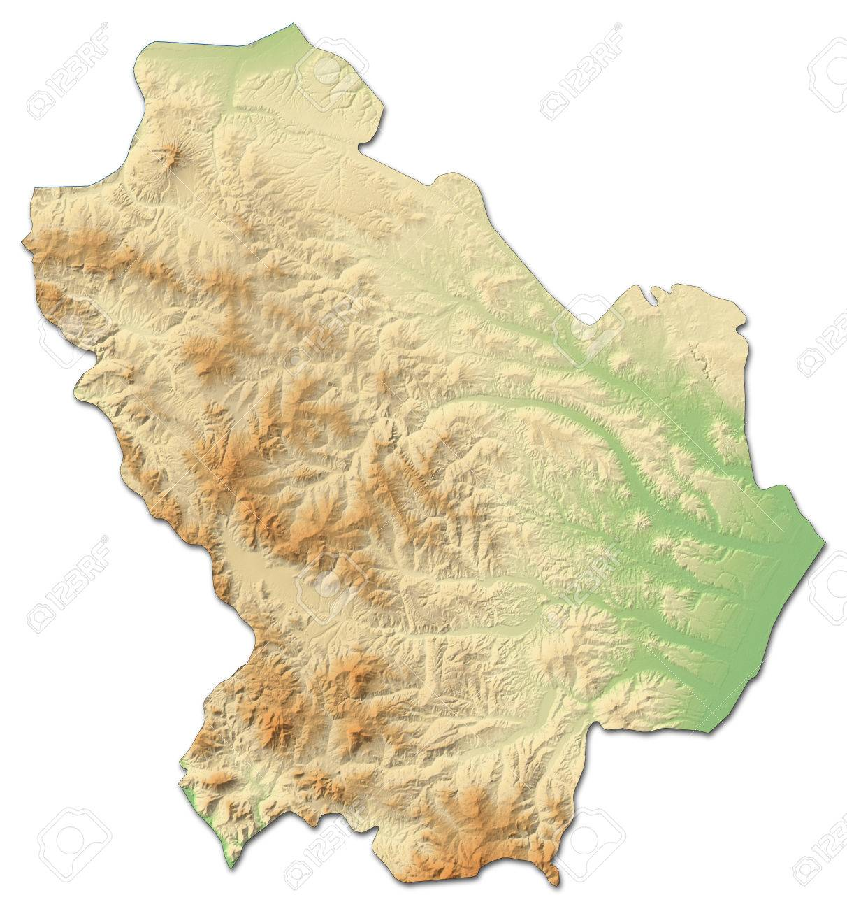 Relief Map Of Basilicata A Province Of Italy With Shaded Relief