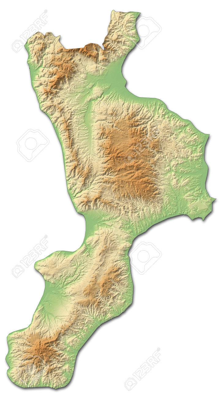 Relief Map Of Calabria A Province Of Italy With Shaded Relief