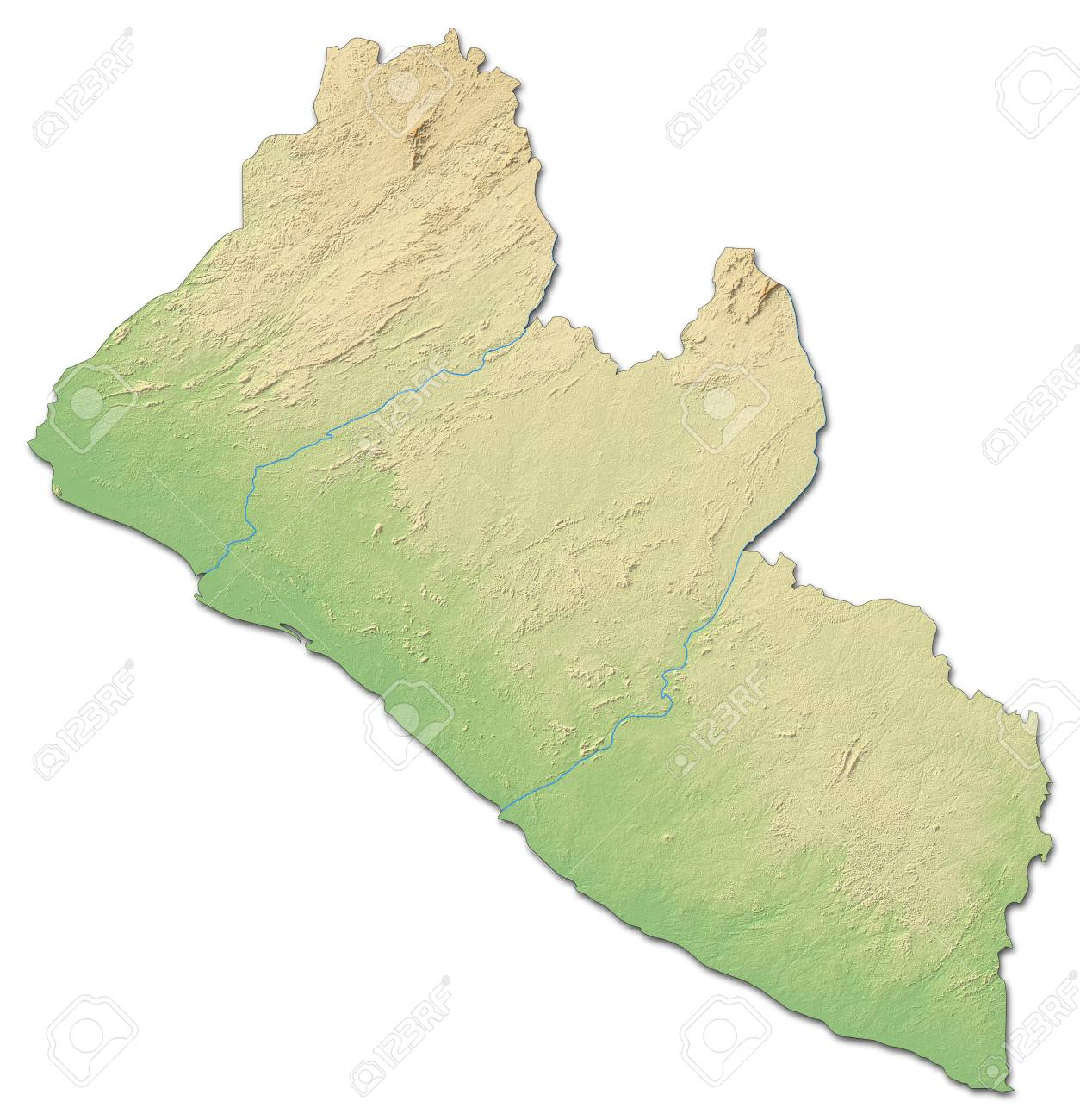 Relief map of Liberia with shaded relief.