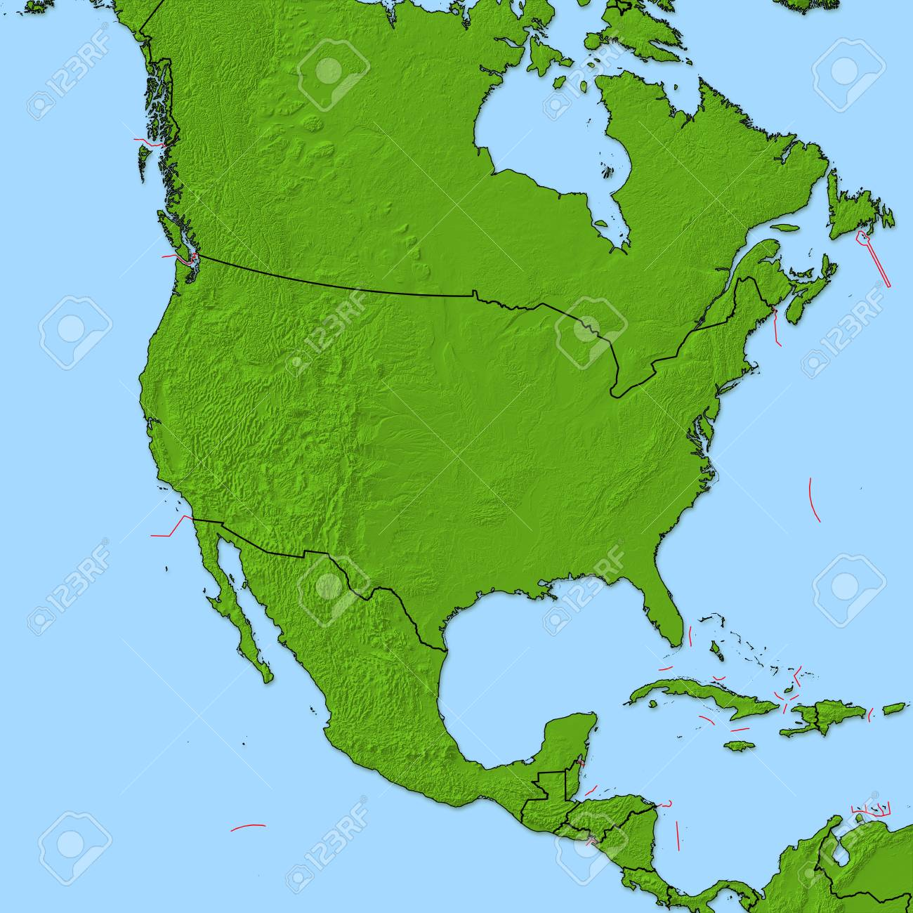 Relief Map Of United States.Relief Map Of United States And Nearby Countries Stock Photo
