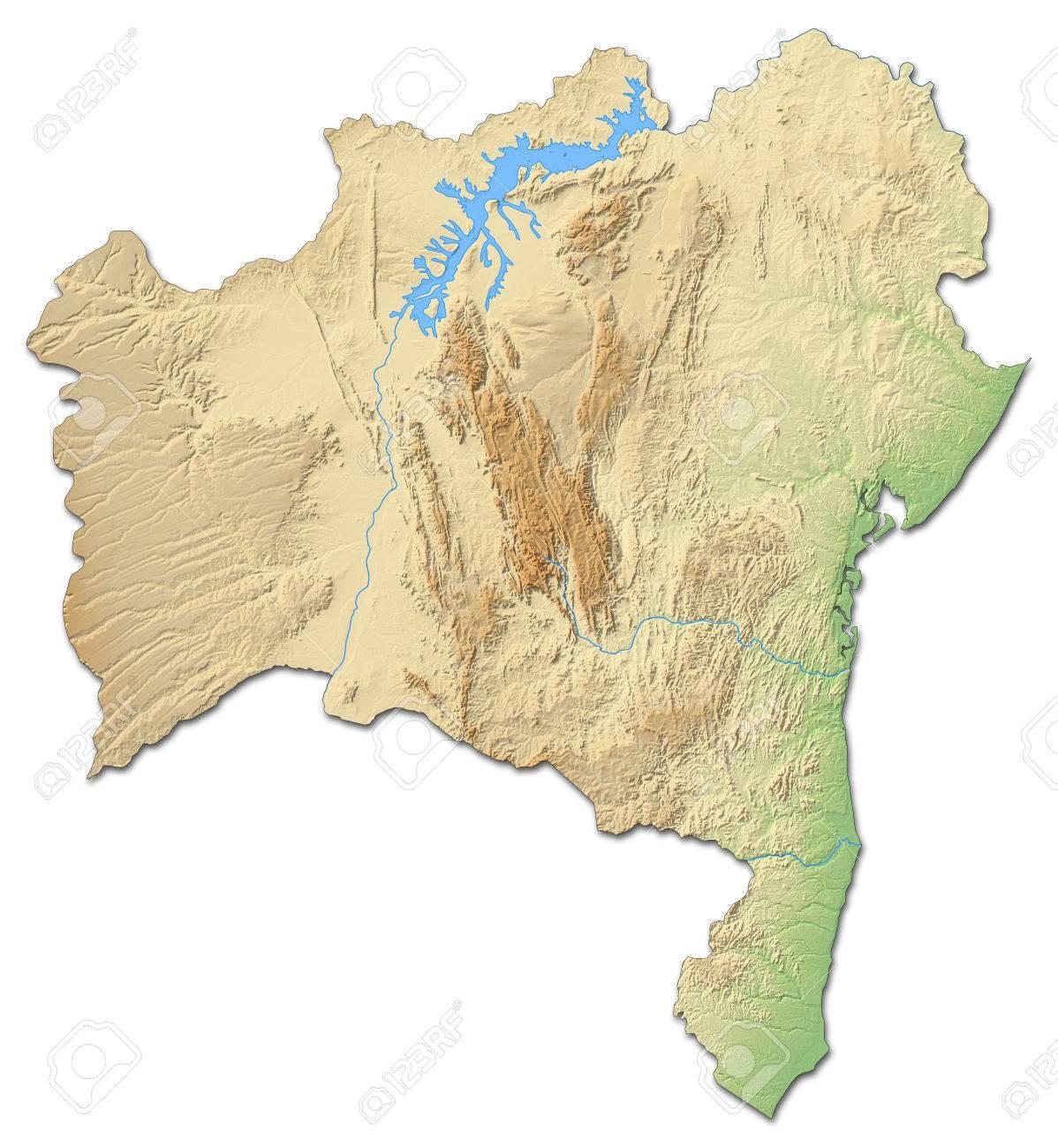 Carte Bresil Relief.Carte Du Relief De Bahia Une Province Du Bresil Avec Un Relief