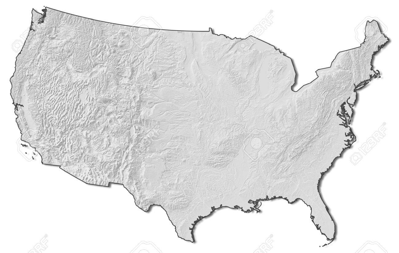 Relief Map Of United States.Relief Map Of United States With Shaded Relief Stock Photo Picture