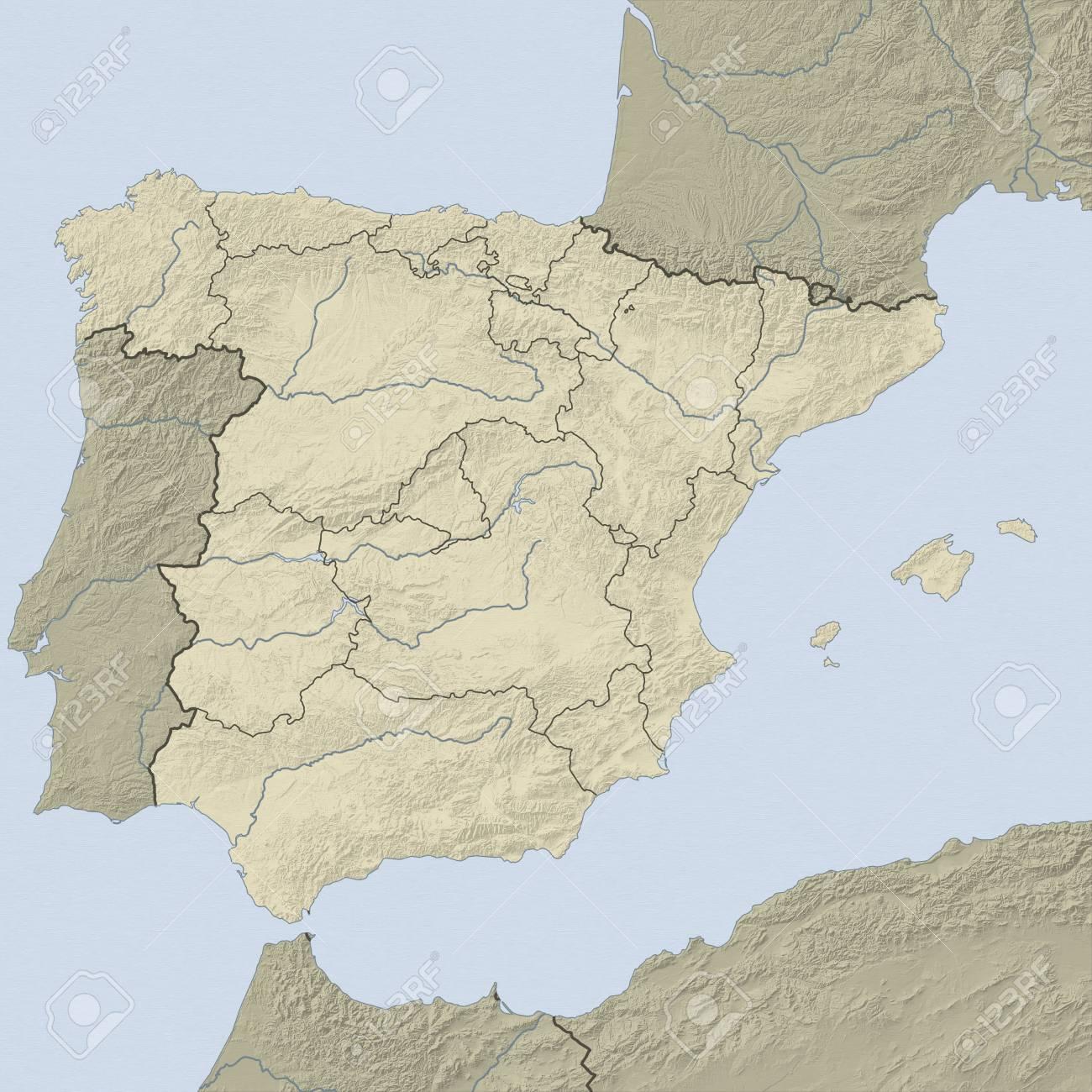 Mapa Relieve De España.Mapa En Relieve De Espana Y Paises Nearbz
