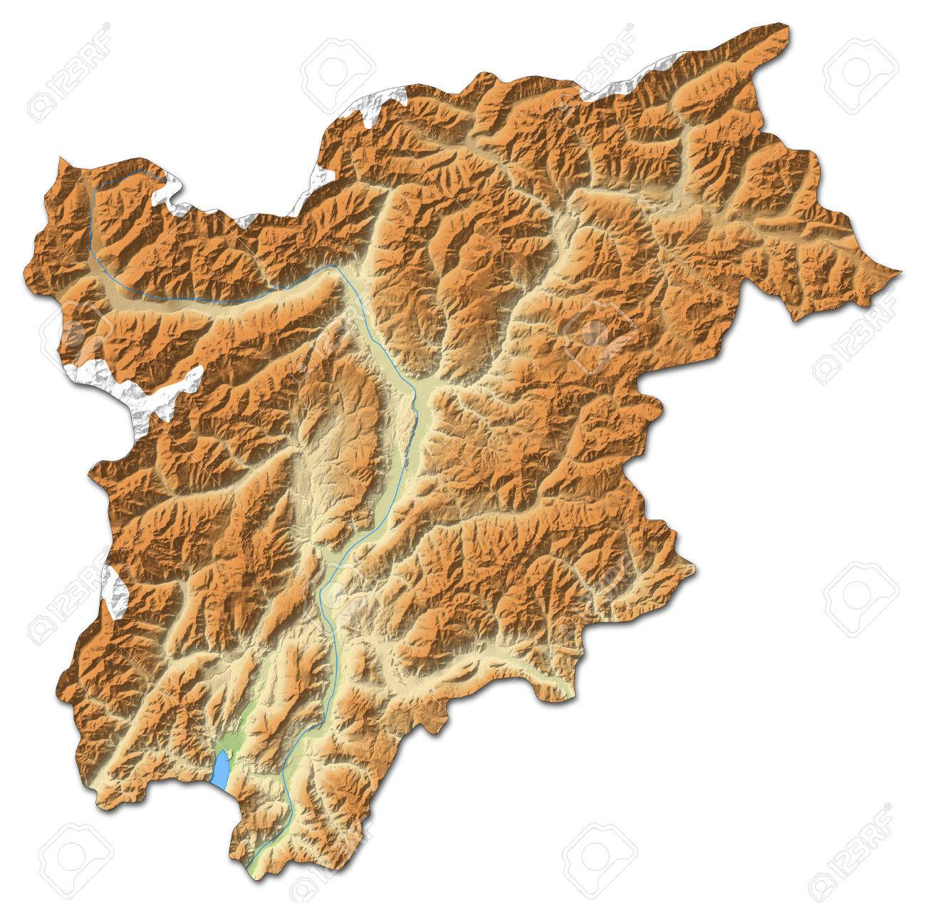 Relief map of Trentino-Alto Adige/S?dtirol, a province of Italy, with shaded relief. - 63797745