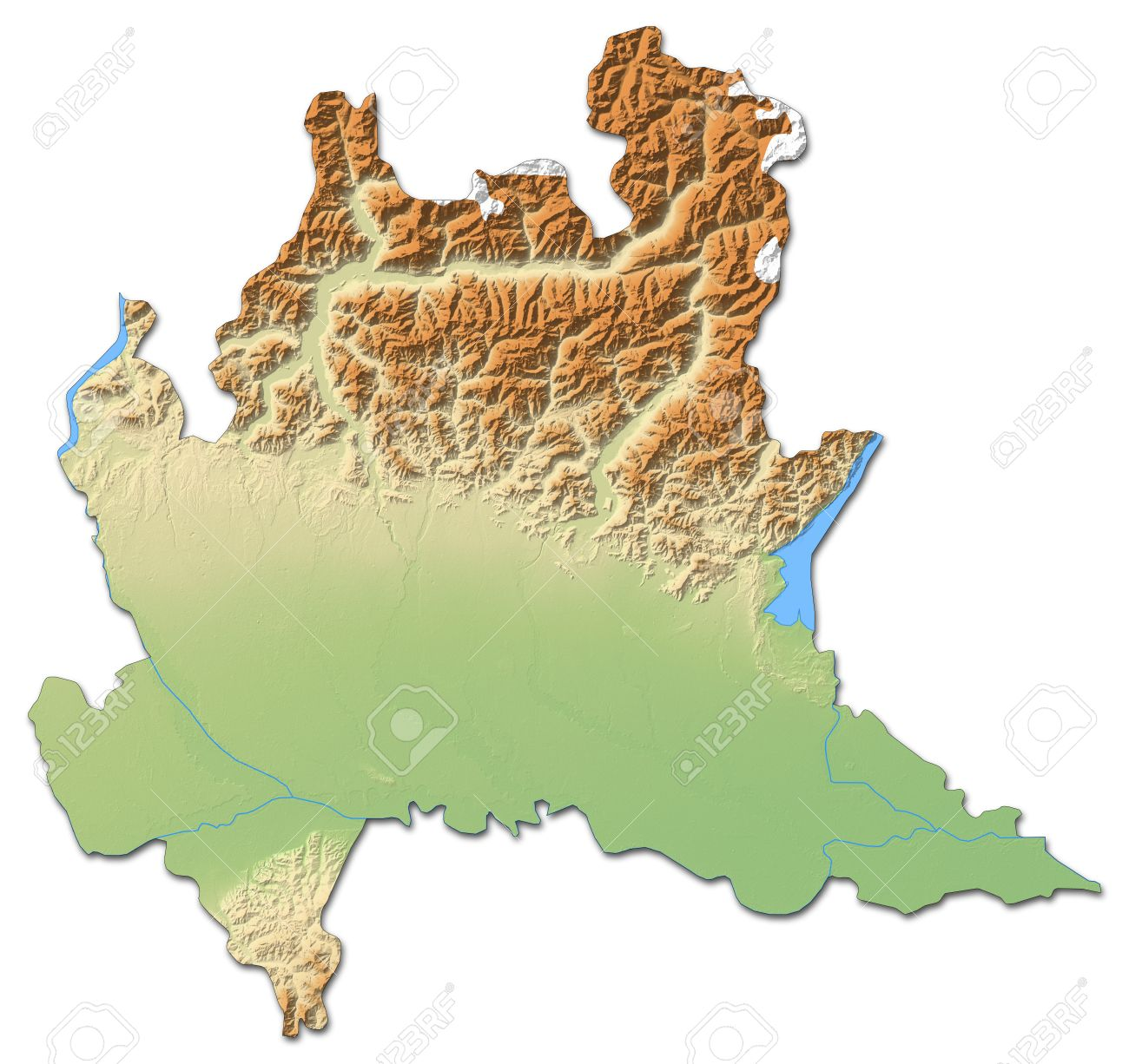 Relief Map Of Lombardy, A Province Of Italy, With Shaded Relief ...