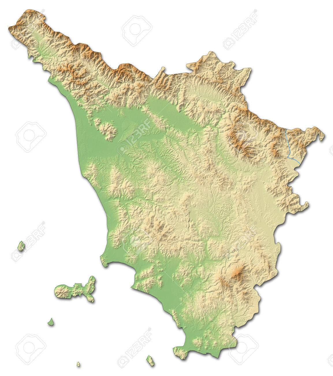 Relief Map Of Tuscany A Province Of Italy With Shaded Relief