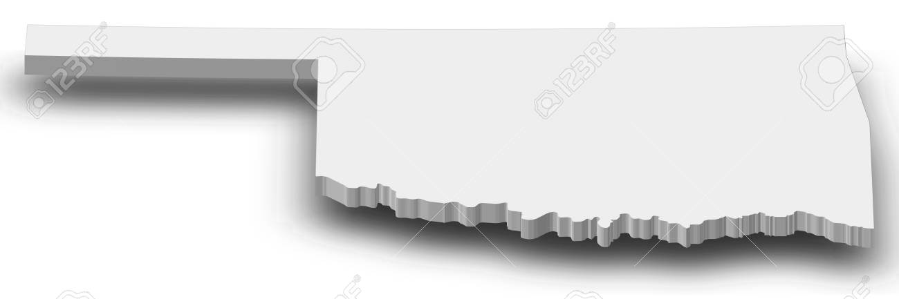 Map Of Oklahoma A Province Of United States As A Gray Piece