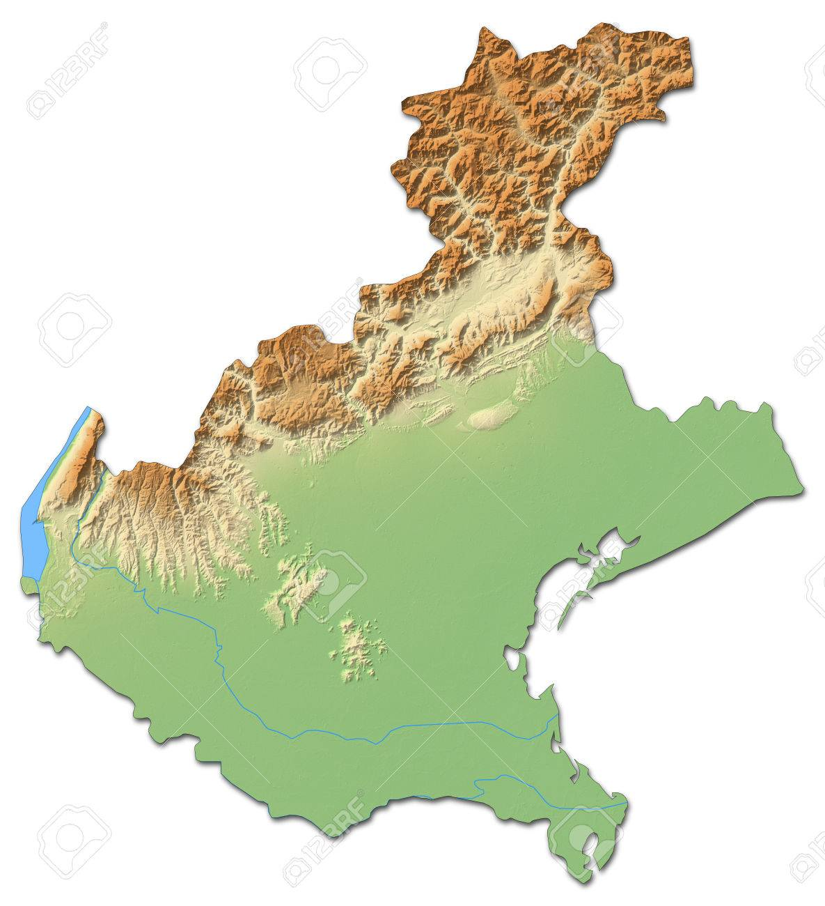 Relief map of Veneto, a province of Italy, with shaded relief. - 63798000