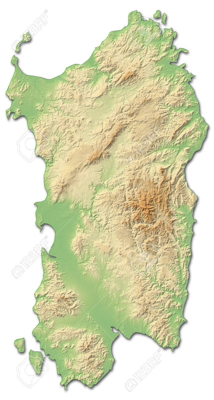 Relief map of Sardinia, a province of Italy, with shaded relief. - 63798035
