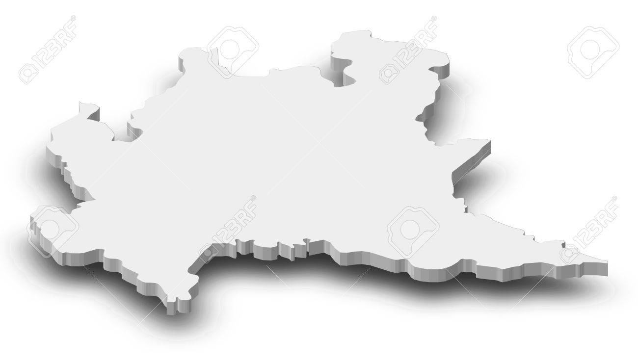 Map Of Lombardy, A Province Of Italy, As A Gray Piece With Shadow ...