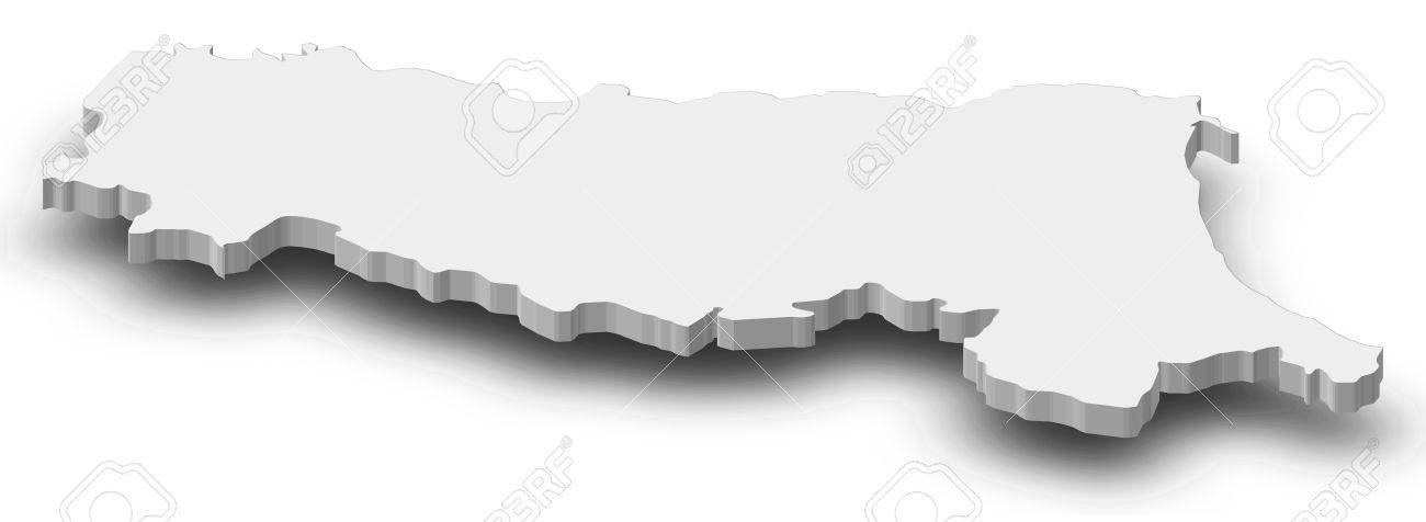 Map Of EmiliaRomagna A Province Of Italy As A Gray Piece With