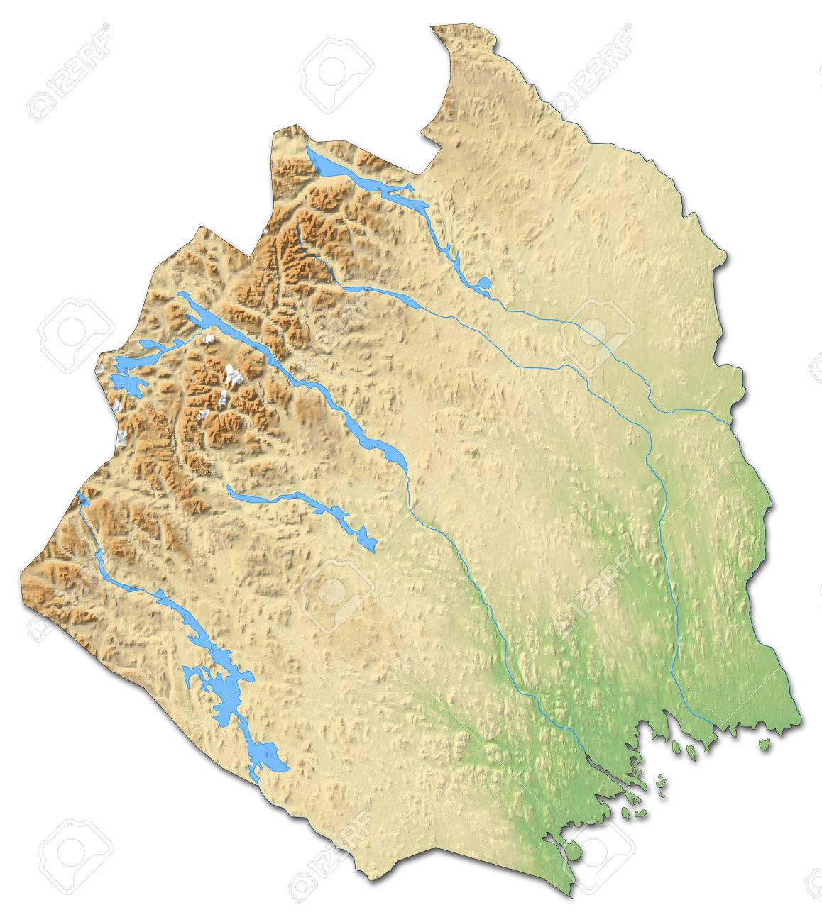 Relief Map Of Norrbotten County A Province Of Sweden With Shaded - Sweden relief map