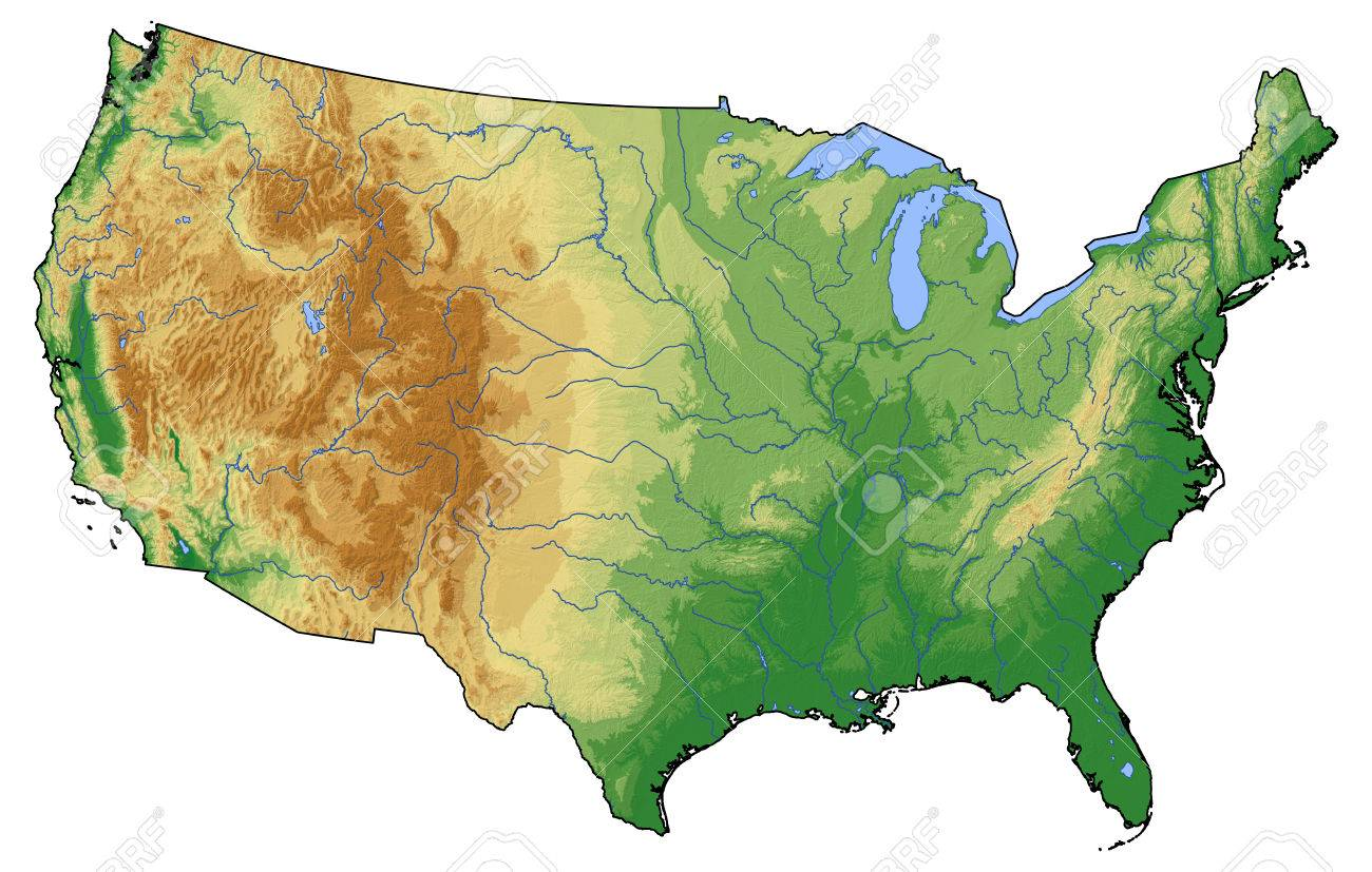 Relief map of United States with shaded relief. - 65419256