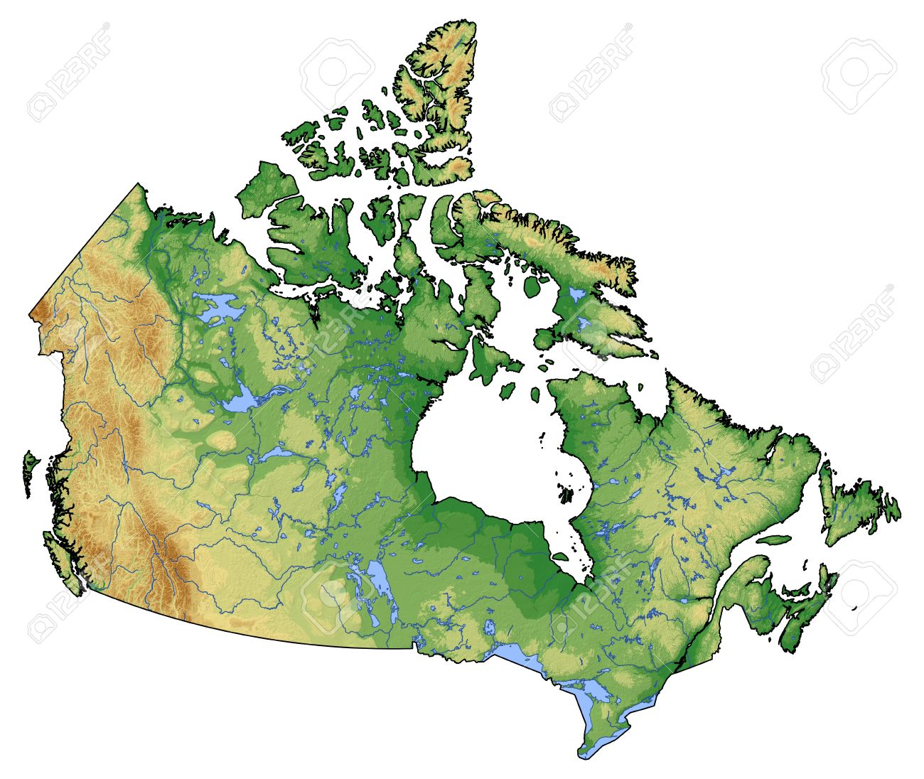 Canada Relief Map Relief Map Of Canada With Shaded Relief. Stock Photo, Picture And