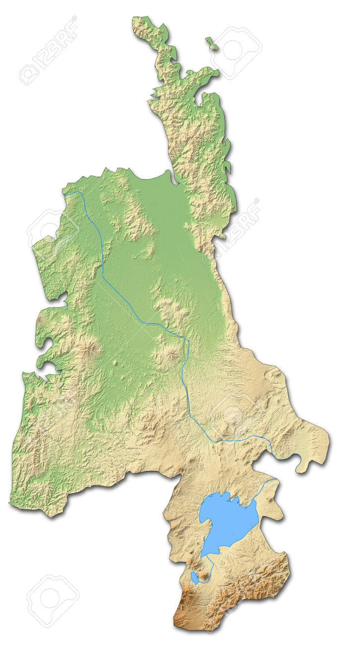 Waikato New Zealand Map.Relief Map Of Waikato A Province Of New Zealand With Shaded