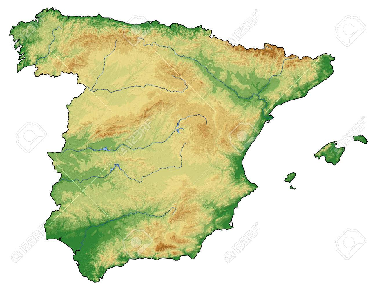 Carte Andalousie Relief.Carte De L Espagne Relief Avec Relief Ombre