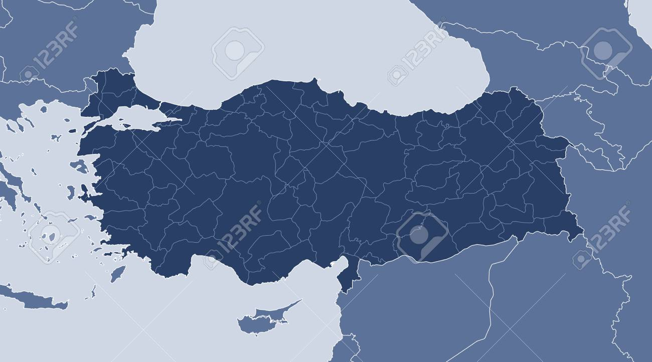 Map Of Turkey And Nearby Countries, Turkey Is Highlighted. Royalty ...