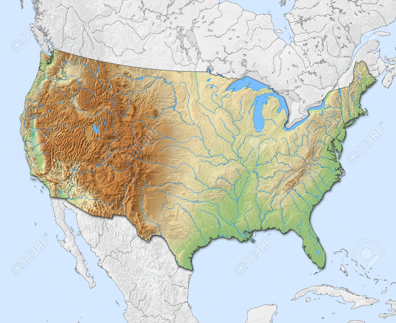 Relief Map Of United States.Relief Map Of United States With Shaded Relief Nearby Countries