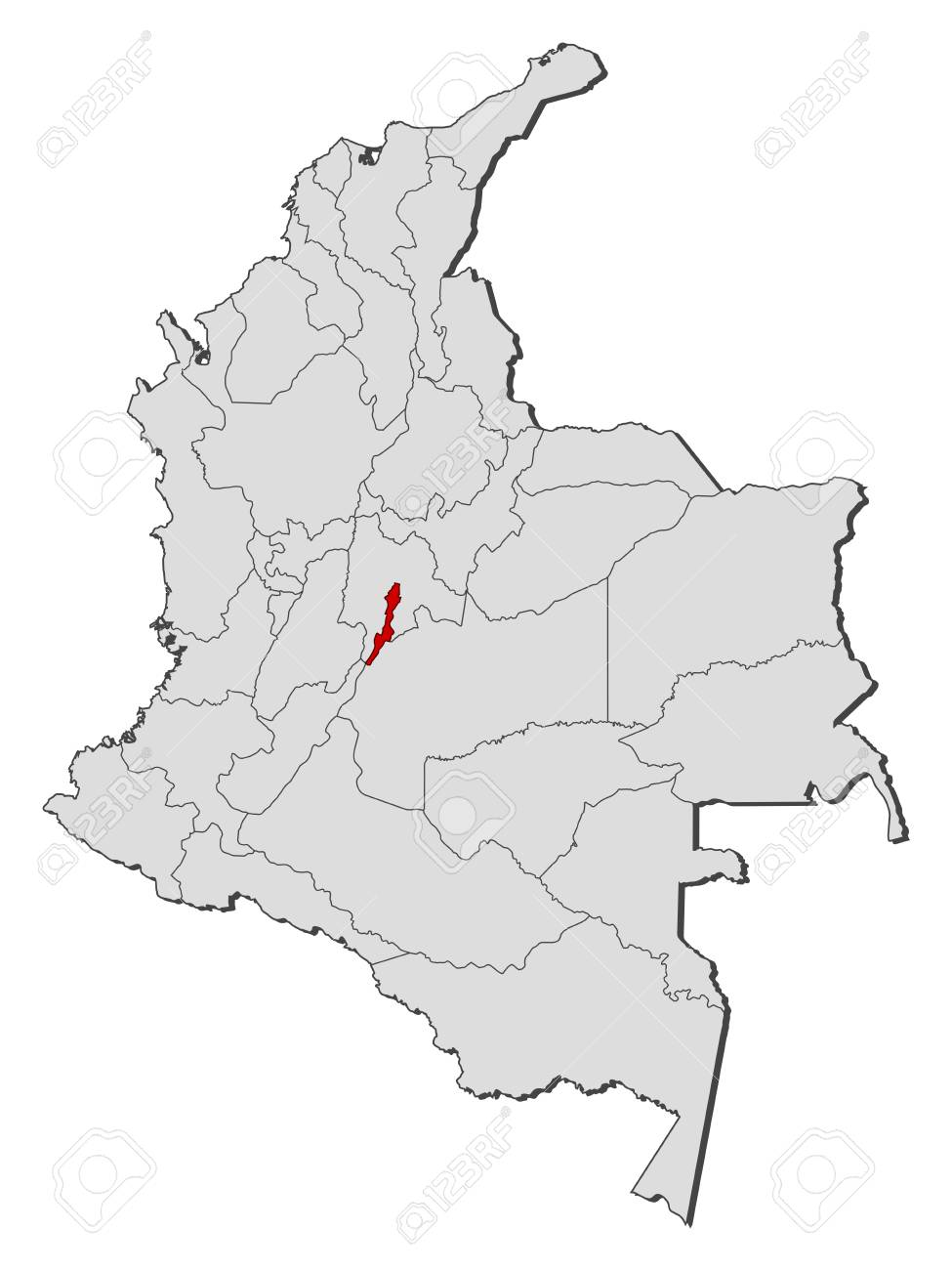 Map of Colombia with the provinces, Bogota is highlighted.