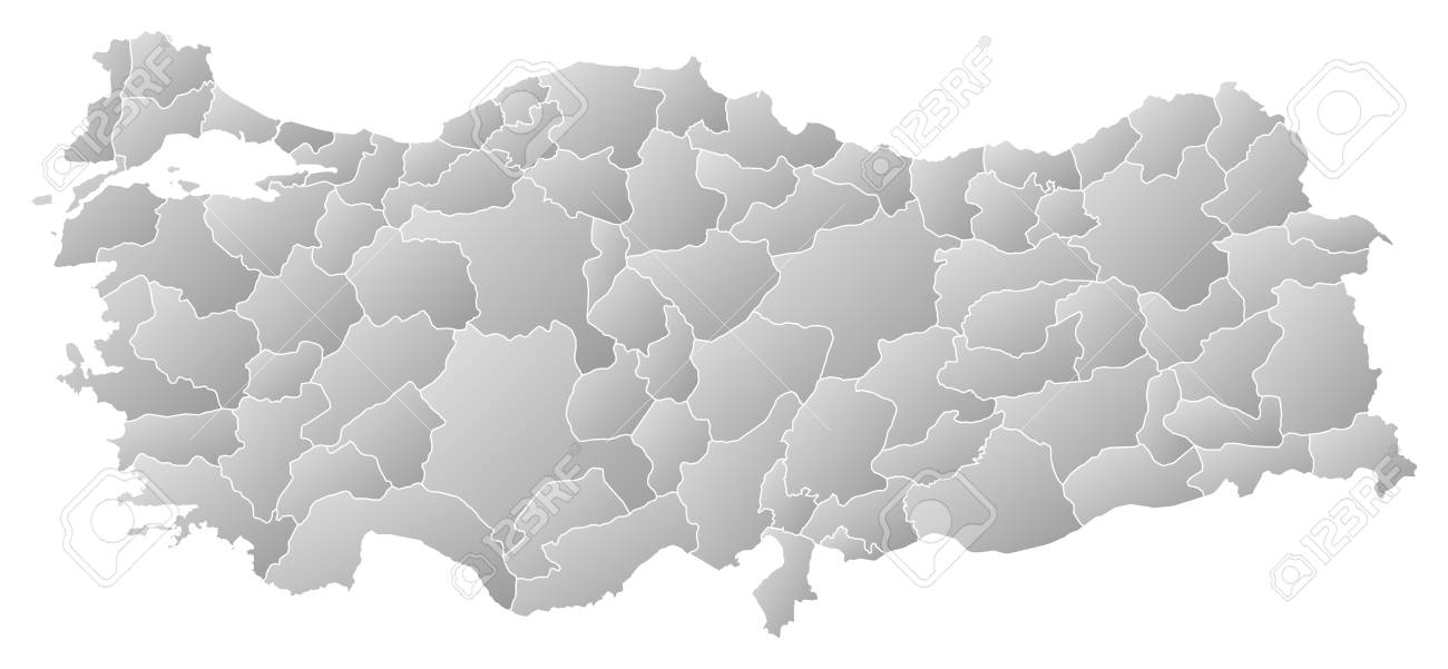 Map Of Turkey With The Provinces, Filled With A Linear Gradient ...