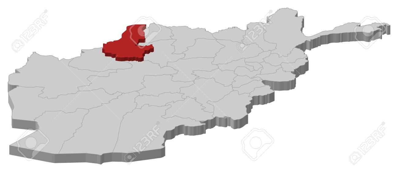 Map Of Afghanistan As A Gray Piece Faryab Is Highlighted In