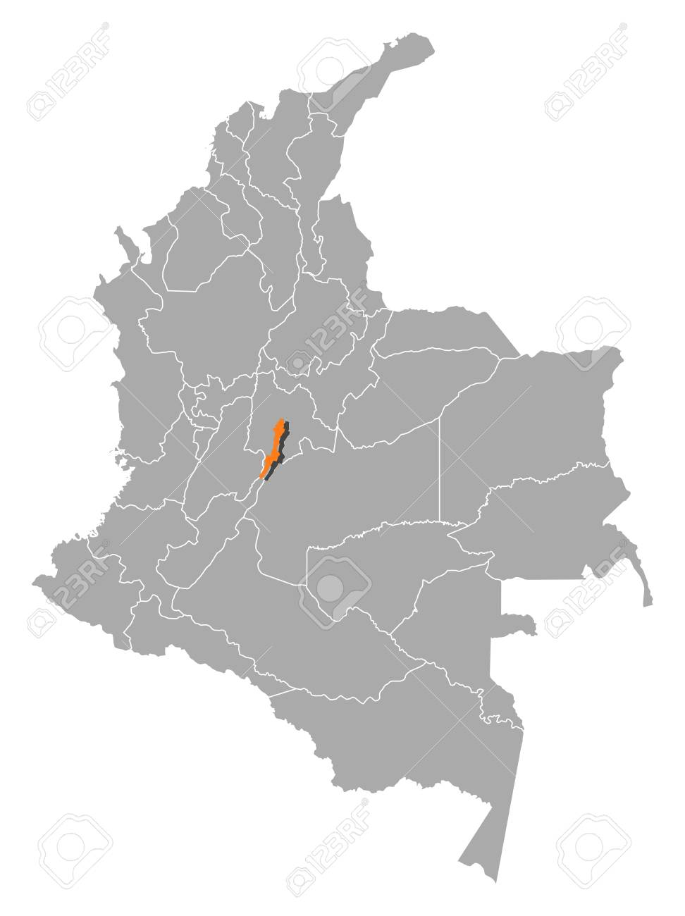 Map Of Colombia With The Provinces, Bogota Is Highlighted By ...