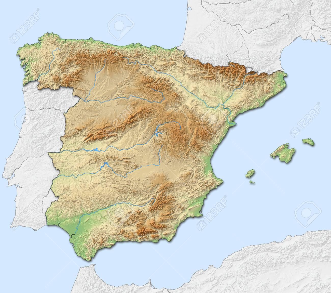 Mapa Relieve De España.Mapa En Relieve De Espana Con Relieves Y Sombreados Los Paises Cercanos Estan En Negro Un Blanco