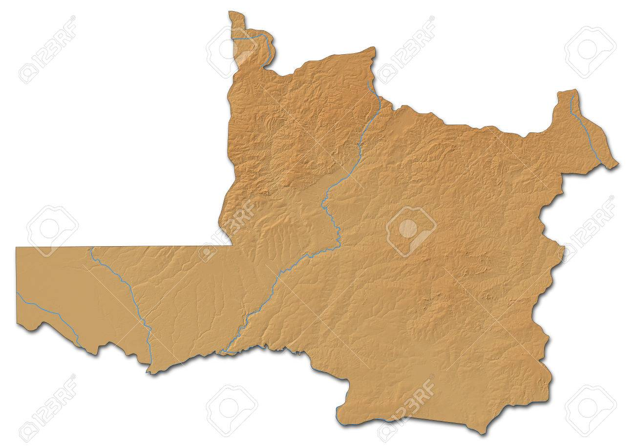 Relief Map Of North-Western, A Province Of Zambia, With Shaded ...