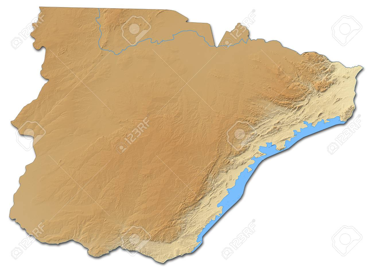 Relief Map Of Southern, A Province Of Zambia, With Shaded Relief ...