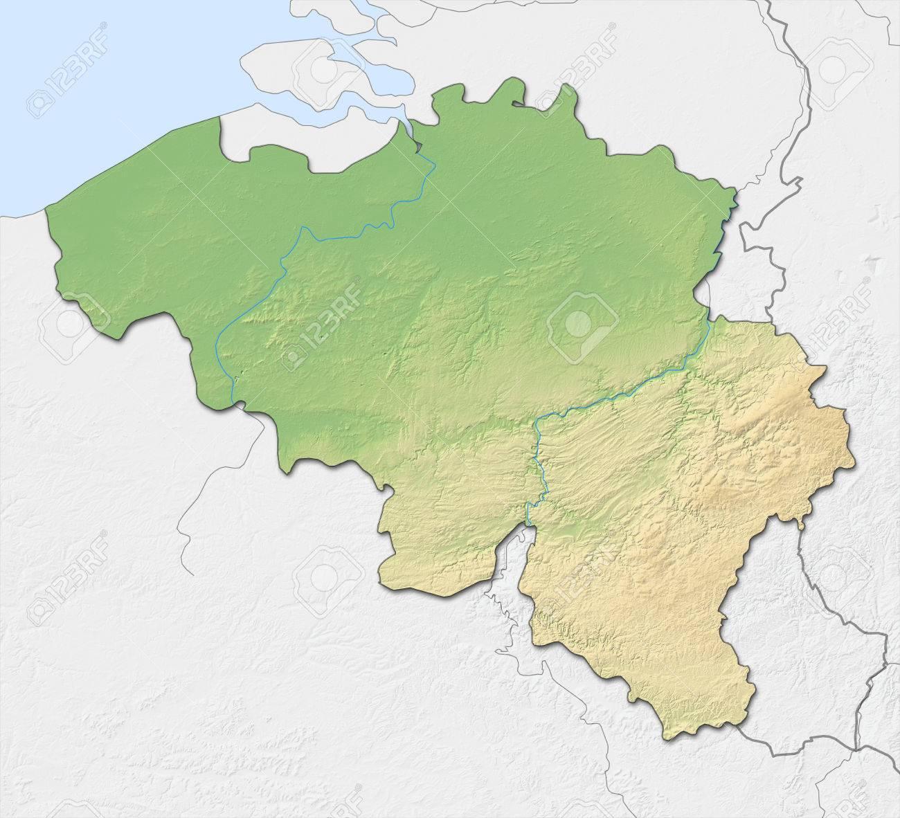 Carte Belgique Noir Et Blanc.Carte Du Relief De La Belgique Avec Relief Ombre Les Pays Voisins Sont En Noir Et Blanc